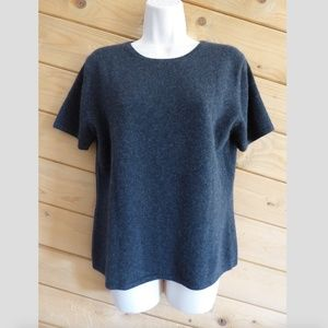 Preview Gray 100% Cashmere Sweater Short Sleeve